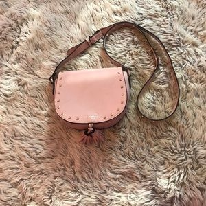 Pink studded crossbody with tassels